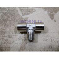 Разветвитель, 2 входа (гайка), 1 выход (штуцер), металл JAS8114, фото 1