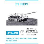Траки металл Pz.III/IV (1943-45 арочный гребень) масштаб 1:35 FRIULMODEL ATL-35-28, фото 1