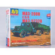 МАЗ-200В с полуприцепом МАЗ-5232В (KIT) металл масштаб 1:43 7059AVD, фото 1