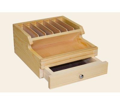 Деревянный органайзер на 9 секций с ящиком, 175х195х95 мм 0WI-PS1, фото 2